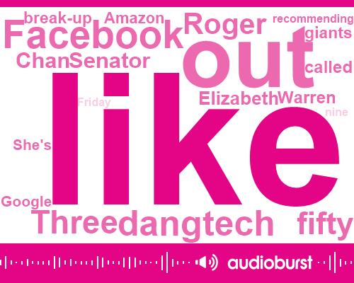 Facebook,Tesla,Instagram,United States,Senator Elizabeth Warren,Google,Roger Chan,Aaron Carson,Mark Zuckerberg,Twitter,FTC,Jordan Peele,Youtube,Chiang,CBS,Scott,Three Percent