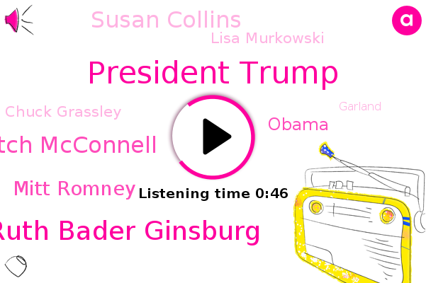 President Trump,Justice Ruth Bader Ginsburg,Senator Mitch Mcconnell,Senate,Mitt Romney,Barack Obama,Susan Collins,Supreme Court,Lisa Murkowski,Chuck Grassley,Alaska,Maine,Garland,America