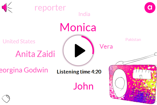 India,John,Anita Zaidi,Reporter,Georgina Godwin,Monica,Vera,United States,Pakistan