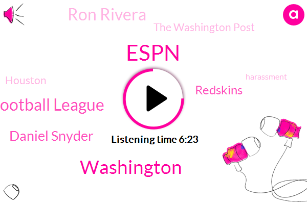 National Football League,Espn,Washington,Daniel Snyder,Redskins,Ron Rivera,The Washington Post,Houston,Harassment,Riley,Roger Goodell,National Ball League,Ron River,Football,Richmond,Adam Schefter,Alex Santos,Director,Assistant Director,Twitter