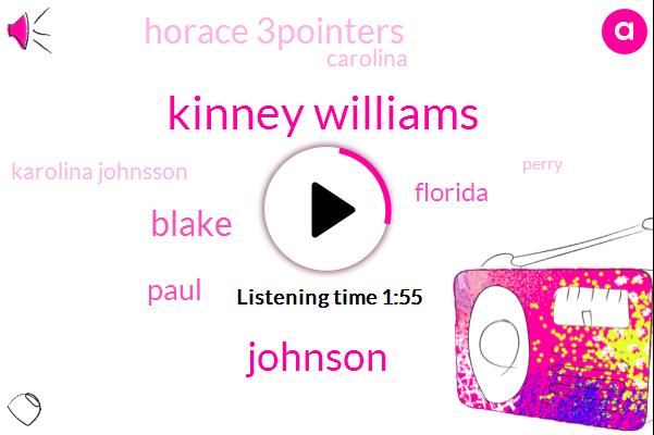 Kinney Williams,Blake,Paul,Johnson,Florida,Horace 3Pointers,Carolina,Karolina Johnsson,Perry,Carini,Ninety Seconds,Milk