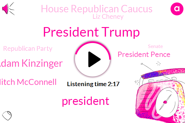 President Trump,Congressman Adam Kinzinger,Mitch Mcconnell,President Pence,House Republican Caucus,Liz Cheney,Republican Party,U. S. Capitol,Senate,U. S. House,U. S House,CNN,Nancy Pelosi,Tribune,United States,Morrow,The New York Times