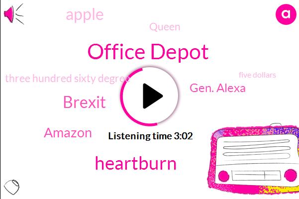 Office Depot,Heartburn,Brexit,Amazon,Gen. Alexa,Apple,Queen,Three Hundred Sixty Degree,Five Dollars,Thirty Days,One Hour