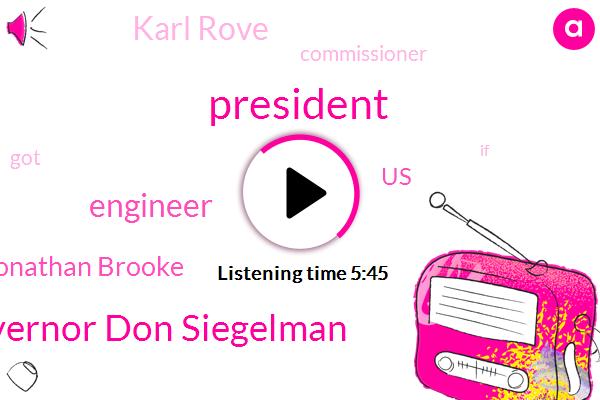 President Trump,Governor Don Siegelman,Engineer,Jonathan Brooke,United States,Karl Rove,Commissioner