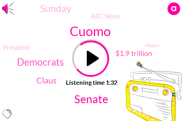 Cuomo,Senate,Democrats,Claus,$1.9 Trillion,Sunday,Abc News,President Trump,Pinera,State Attorney General,Today,$15 An Hour,Second Former Aide,Letitia James,Panera,Biden