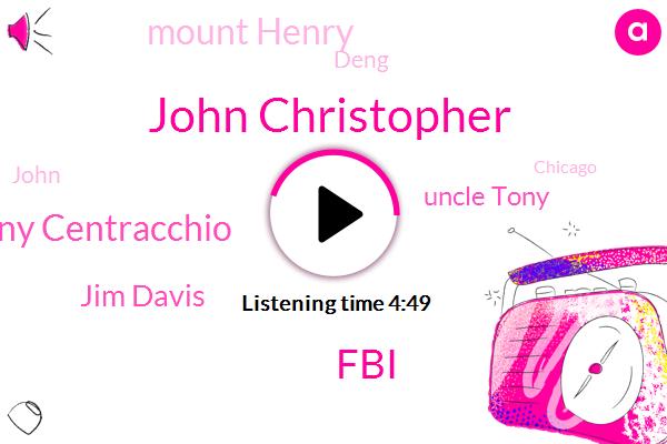 John Christopher,FBI,Tony Centracchio,Jim Davis,Uncle Tony,Mount Henry,Deng,Chicago,Robyn,Officer,North Lonsdale,Saint Louis,Thirty Nine Months,Twenty One Acres,Twenty Years,Three Years