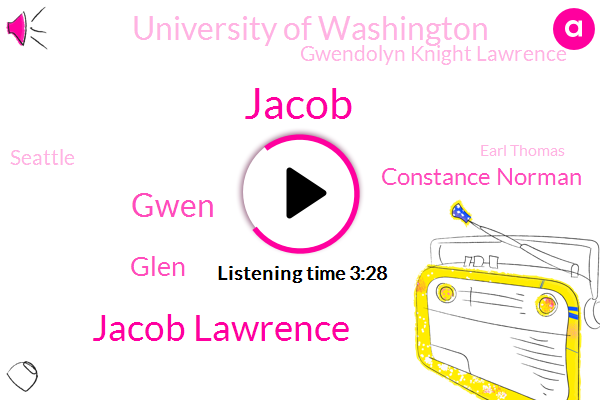 Jacob,Jacob Lawrence,Gwen,Glen,Constance Norman,University Of Washington,Gwendolyn Knight Lawrence,Seattle,Earl Thomas,Norman Rice,Barbara,Professor,Graduate Advisor,Saint John Devine,Gwinnett,Wendelin,Jake,Saint John,Mickey Flowers,New York