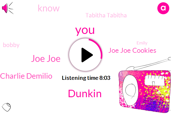 Dunkin,Joe Joe,Charlie Demilio,Joe Joe Cookies,Tabitha Tabitha,Bobby,Emily,Lindsay Weber,Daily Press,Duncan,Tapa,A. Probing,Shaw,BO