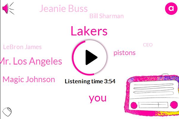 Lakers,Mr. Los Angeles,Magic Johnson,Pistons,Jeanie Buss,Bill Sharman,Lebron James,CEO,Koby,Dr Boss,LA,General Manager,Kobe,Mr. Michigan,Seventeen Years,Three Years