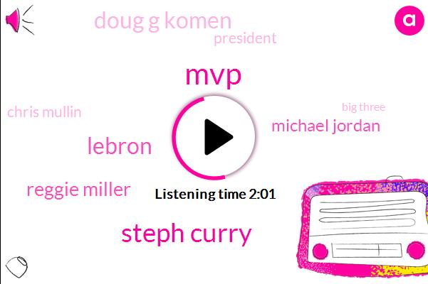 MVP,Steph Curry,Lebron,Reggie Miller,Michael Jordan,Doug G Komen,President Trump,Chris Mullin,Big Three