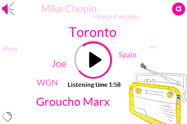 Toronto,Groucho Marx,JOE,WGN,Spain,Mike Chopin,Howard Jeremy,Pires