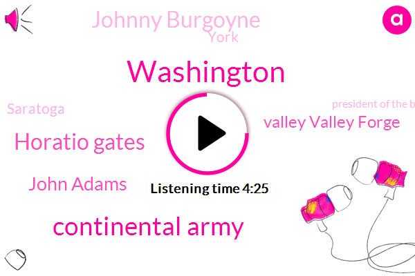 Continental Army,Horatio Gates,Washington,John Adams,Valley Valley Forge,Johnny Burgoyne,York,Saratoga,President Of The Board,Valley Forge,Pennsylvania,Congressman York,Commander,Joseph Plumb Martin,Paoli Germantown,New York