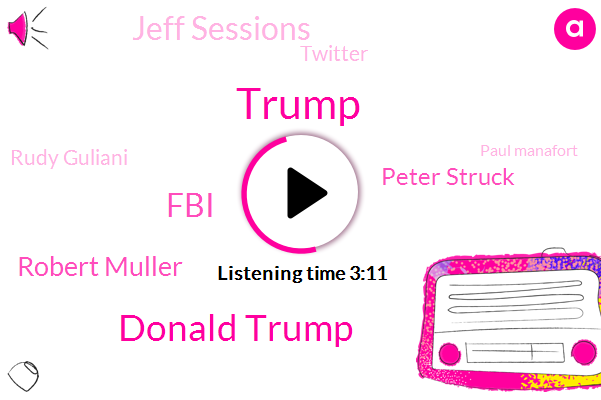 Donald Trump,FBI,Robert Muller,Peter Struck,Jeff Sessions,Rudy Guliani,Twitter,Paul Manafort,Bob Ma,Guliani,Alan Dershowitz,Attorney,USA,Bruni,Tony,Lisa
