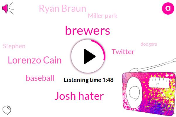 Josh Hater,Brewers,Lorenzo Cain,Baseball,Twitter,Ryan Braun,Miller Park,Stephen,Dodgers,Seventeen Years