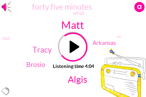Matt,Algis,Tracy,Brosio,Arkansas,Forty Five Minutes