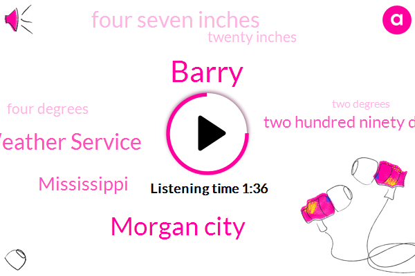 Barry,Morgan City,National Weather Service,Mississippi,Two Hundred Ninety Degrees,Four Seven Inches,Twenty Inches,Four Degrees,Two Degrees