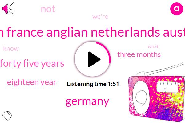 Jordan France Anglian Netherlands Australia,Germany,Forty Five Years,Eighteen Year,Three Months