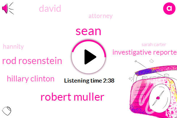 Sean,Robert Muller,Rod Rosenstein,Hillary Clinton,Investigative Reporter,David,Attorney,Hannity,Sarah Carter,Apple,FBI,Donald Trump,Weizmann,Moeller