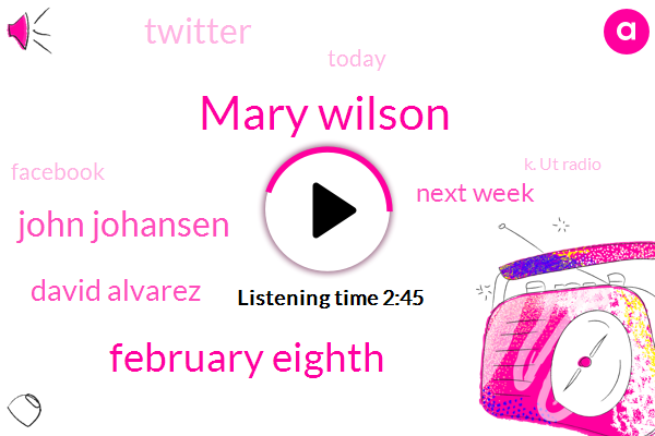 Mary Wilson,February Eighth,John Johansen,David Alvarez,Next Week,Twitter,Today,Facebook,K. Ut Radio,University Of Texas,Seventy Six,Twenty,Saturday Night,Texas,Scratch,TWO,Ku X Dot Org,Tonight,Austin,Dot. Org
