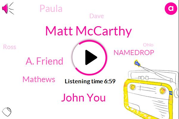 Matt Mccarthy,John You,A. Friend,Mathews,Namedrop,Paula,Ross,Dave,Ohio,Saks,RAY,KEN,Abdul,WHA,Brandy