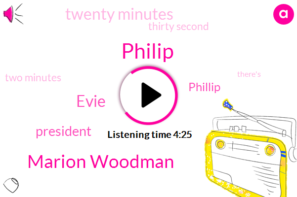 Philip,Marion Woodman,Evie,President Trump,Phillip,Twenty Minutes,Thirty Second,Two Minutes
