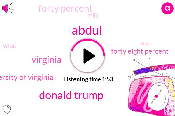 Abdul,Donald Trump,Virginia,University Of Virginia,Forty Eight Percent,Forty Percent,Milk