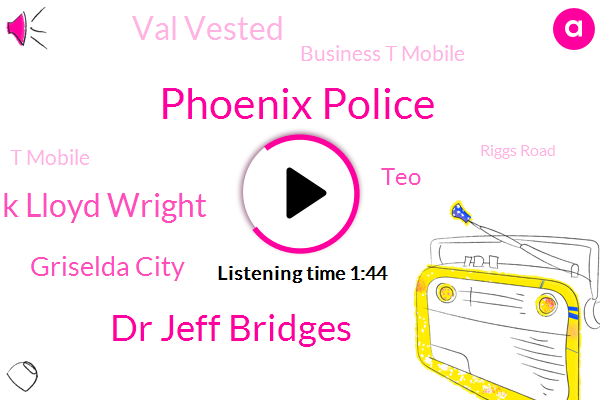 Phoenix Police,Dr Jeff Bridges,Frank Lloyd Wright,Griselda City,TEO,Val Vested,Business T Mobile,T Mobile,Riggs Road,Katie,Gore Point,Chevy,Santana,East Valley,Boswell,Peoria,Traffic Center