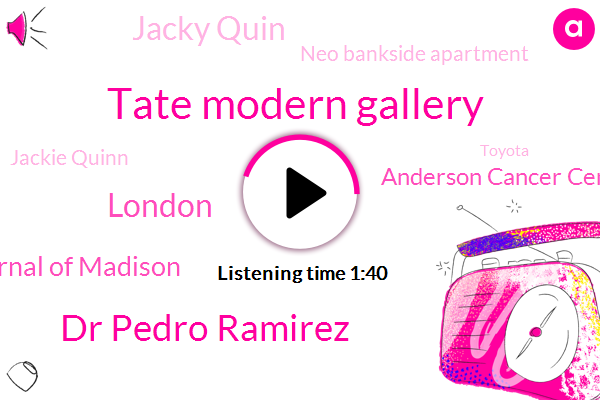 Tate Modern Gallery,Dr Pedro Ramirez,London,New England Journal Of Madison,Anderson Cancer Center,Jacky Quin,Neo Bankside Apartment,Jackie Quinn,Toyota,Mike Ross,Houston,AP,Tate,University Of Texas,United States,Europe,Japan,Karen China,Three Hundred Sixty Degree