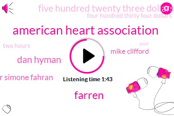 American Heart Association,Farren,Dan Hyman,Dr Simone Fahran,Mike Clifford,Five Hundred Twenty Three Dollars,Four Hundred Thirty Four Dollars,Two Hours