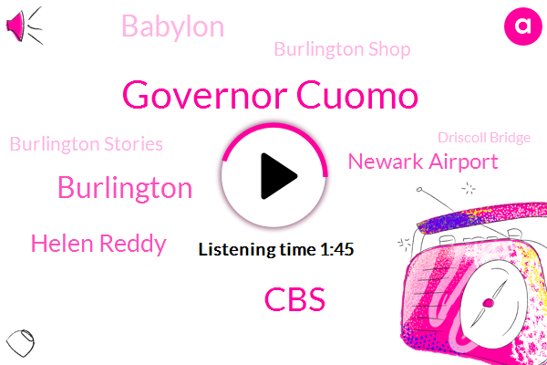 Governor Cuomo,CBS,Burlington,Helen Reddy,Newark Airport,Babylon,Burlington Shop,Burlington Stories,Driscoll Bridge,Newark,Amy Zimmerman,Levine,New Jersey,Co Peg Path,John Elliott,World Trade Center,Massapequa