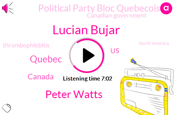 Lucian Bujar,Peter Watts,Quebec,Canada,United States,Political Party Bloc Quebecois,Canadian Government,Thrombophlebitis,North America,Secretary,Montreal,Luc Hospital,France