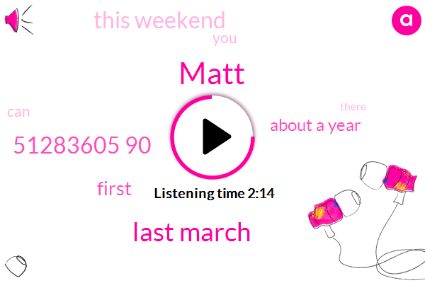 Matt,Last March,51283605 90,First,About A Year,This Weekend,TWO