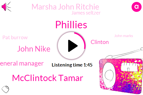 Phillies,Mcclintock Tamar,John Nike,General Manager,Clinton,Marsha John Ritchie,James Seltzer,Pat Burrow,John Marks,Sixers,Marlton,Elton,Sout,NYC,Gabe,Clint,Mclintock,Kappler,Ten Years,Two Days