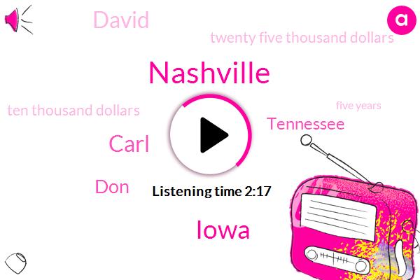 Nashville,Iowa,Carl,DON,Tennessee,David,Twenty Five Thousand Dollars,Ten Thousand Dollars,Five Years,Thirty Eight Thirty Eight Thirty Eight Years,Fifteen Thousand Dollars,Thirteen Hour
