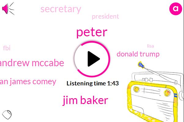 Peter,Jim Baker,Andrew Mccabe,Sean James Comey,Donald Trump,Secretary,President Trump,FBI,Lisa,Epide,Ohio,Chief Counsel,Qomi,Mr Comey,Clinton,Loretta Lynch,Komi,Jim Jordan,Congressman,Three Days