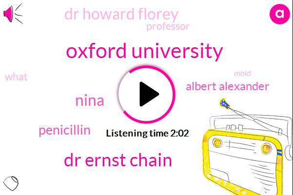 Oxford University,Dr Ernst Chain,Nina,Penicillin,Albert Alexander,Dr Howard Florey,Professor