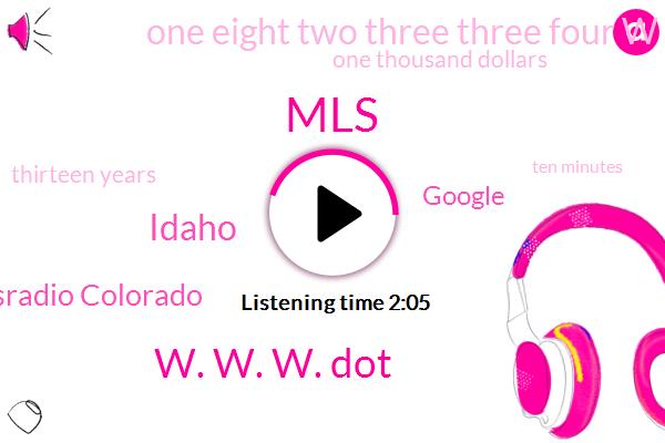 MLS,W. W. W. Dot,Idaho,Kayley Newsradio Colorado,Google,One Eight Two Three Three Four W,One Thousand Dollars,Thirteen Years,Ten Minutes