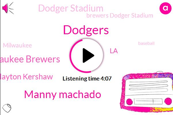 Dodgers,Manny Machado,Milwaukee Brewers,Clayton Kershaw,LA,Dodger Stadium,Brewers Dodger Stadium,Milwaukee,Baseball,National League,NBC,Fox Sports,Wade Miley,Aguilar,Cody Bellinger,Greg,Craig,Christian Yelich,Chicago,Producer