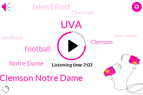 UVA,Clemson Notre Dame,Notre Dame,Clemson,Football,Jalen Elliott,Cincinnati,Producer,Andy Virginia,South Carolina,Cleland Farrell,Richmond,Atlanta,Holland Springs,Michigan,Wallace,Alabama,Oklahoma