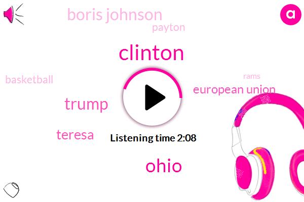 Clinton,Ohio,Donald Trump,Teresa,European Union,Boris Johnson,Payton,Basketball,Rams,Yost,Jay Z,Prime Minister,Britain,Secretary,UK,Germany