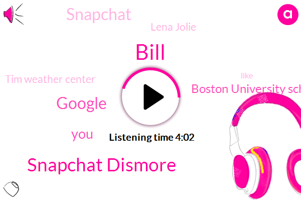 Bill,Snapchat Dismore,Google,Boston University School Of Medicine,Snapchat,Lena Jolie,Tim Weather Center,Ohio,FIA,Jeremy Wheeler,Bridge,Two Hundred Thousand Dollars,One Thousand Dollars