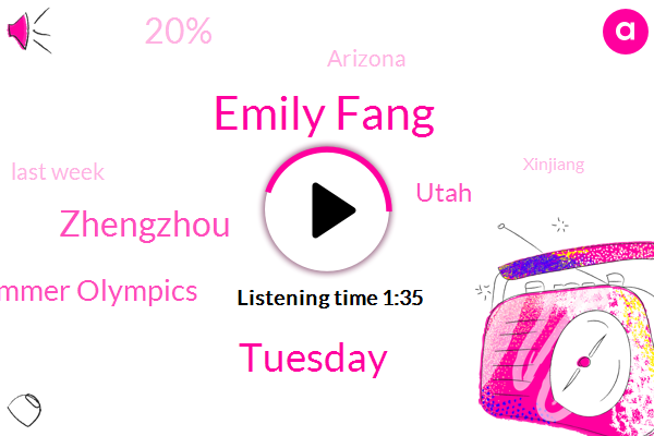 Emily Fang,Tuesday,Zhengzhou,Tokyo Summer Olympics,Utah,20%,Arizona,Last Week,Xinjiang,NPR,First Medals,Capitol Reef National Park,Oregon,Maricopa County,Over 40%,More Than Two Inches An Hour,400 M,Chinese,Central China,At Least 17 Million People