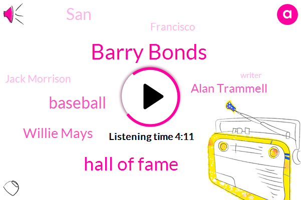 Barry Bonds,Hall Of Fame,Baseball,AT,Willie Mays,Alan Trammell,SAN,Francisco,Jack Morrison,Writer,Fifty Six Percent,Nineteen Percent,Eighty Percent,Fifteen Years,Three Percent,Twenty Years,Four Years,Ten Years