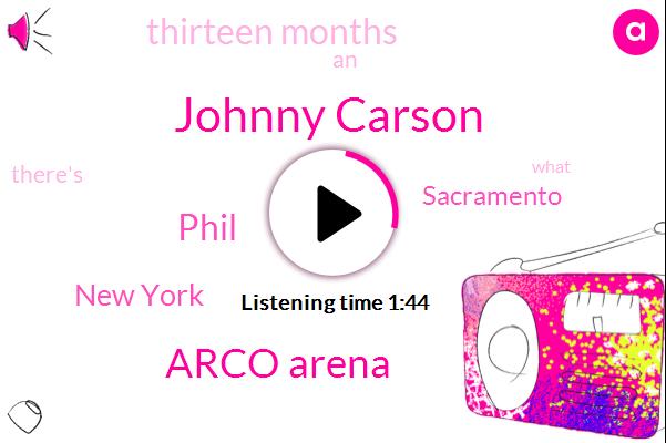Johnny Carson,Arco Arena,Phil,New York,Sacramento,Thirteen Months