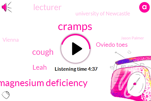 Cramps,Magnesium Deficiency,Cough,Leah,Oviedo Toes,Lecturer,University Of Newcastle,Vienna,Jason Palmer,Mony Chesterton,EUM,Kosov,Steve,BBC,Thirty Seconds,Ten Years
