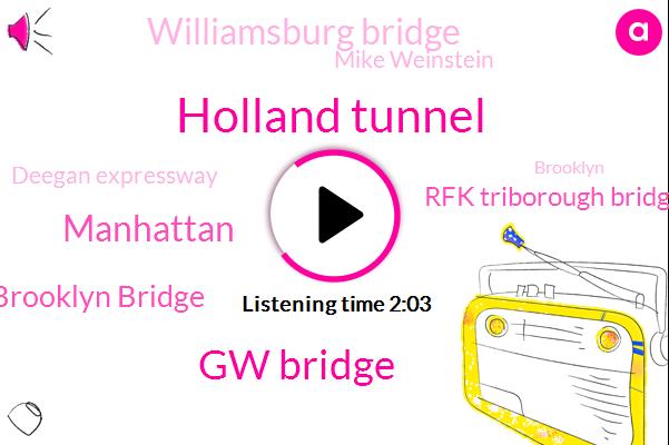Holland Tunnel,Gw Bridge,Manhattan,Brooklyn Bridge,Rfk Triborough Bridge,Williamsburg Bridge,Mike Weinstein,Deegan Expressway,Brooklyn,JOE,Yankee Stadium,Turnpike Lincoln,East River,Kuta,CBS,Newark,Sussex New Jersey,Wcbs,Hudson,Eighty-Two Degrees