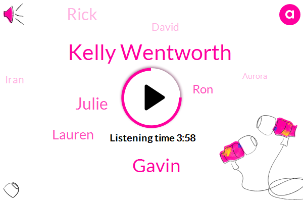Kelly Wentworth,Gavin,Julie,Lauren,RON,Rick,David,Iran,Aurora,Writer,Julia,Devon