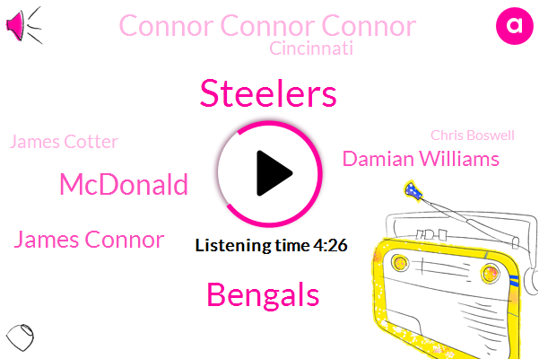 Steelers,Bengals,Mcdonald,James Connor,Damian Williams,Connor Connor Connor,Cincinnati,James Cotter,Chris Boswell,Mike,Spencer Ware,Amy Williams,Tonio Brown,Robbie Anderson,Vince Mukti,Jalen Samuel Samuels,Anderson. Maguire,Herndon,Cleveland