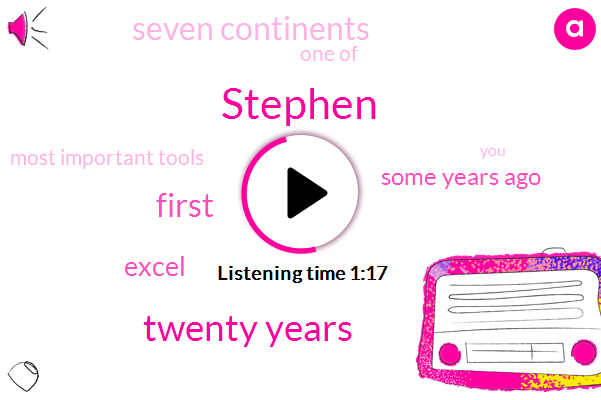 Stephen,Twenty Years,ONE,First,Excel,Some Years Ago,Seven Continents,One Of,Most Important Tools