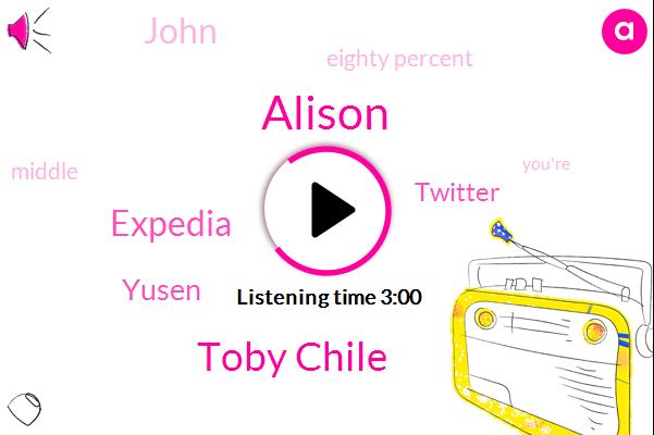 Alison,Toby Chile,Expedia,Yusen,Twitter,John,Eighty Percent
